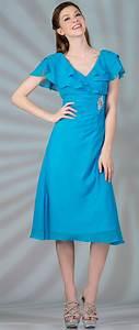 turquoise chiffon short tea length v neckline with short With tea length dresses with sleeves for wedding guest