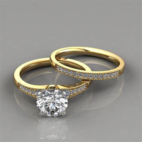 graduated milgrain engagement ring and wedding band set