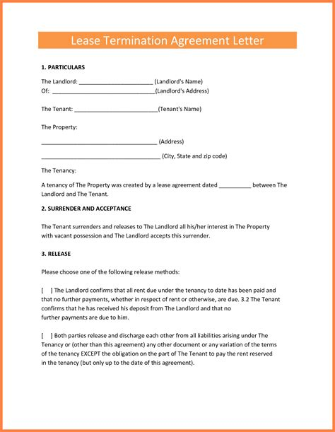termination  lease agreement marital settlements