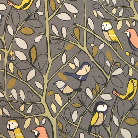 tweety charcoal cotton bird print curtain fabric closs