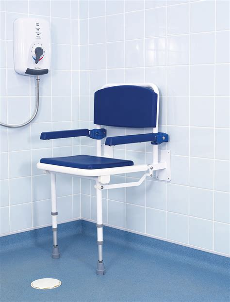 wall mounted fold shower seat with padded seat back