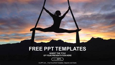 silhouette  woman  yoga powerpoint templates