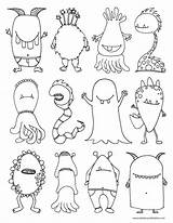Coloring Monsters Monster Scary sketch template