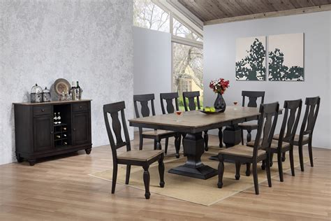 nysha  piece dining room set charcoal oak wood
