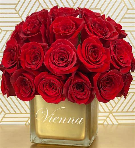 personalized keepsake vase  red roses flowers houston