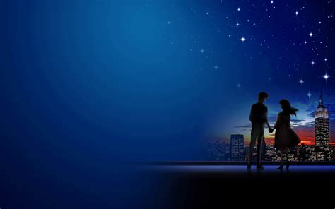 Cute Cartoon Wallpaper Backgrounds 浪漫月光下牵手ppt背景图片 Ppt宝藏提供