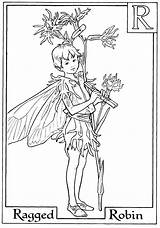 Fairy Coloring Fairies Flower Colouring Printable Alphabet Robin Boy Letter Adult Adults Ragged Spring Holding Fee Faerie Alfabet Barker Kleurplaten sketch template