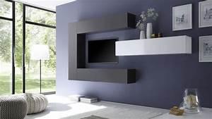 Meuble Tele Suspendu : ensemble meuble tv moderne avec colonnes de rangement manoj gdegdesign ~ Teatrodelosmanantiales.com Idées de Décoration