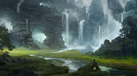 art landscape valley ladder waterfalls moe mountain caves