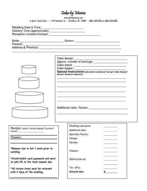 images  cake business order form  pinterest