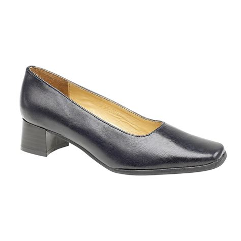amblers walford leather navy court shoes charnwood footwear