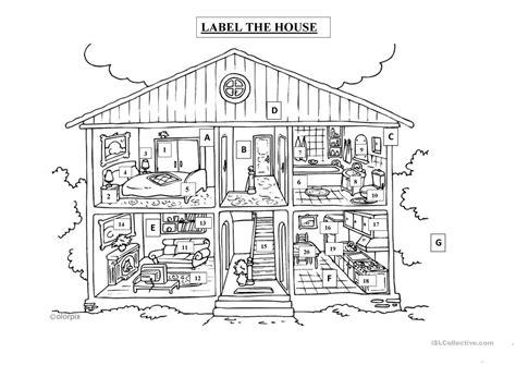 label  house english esl worksheets
