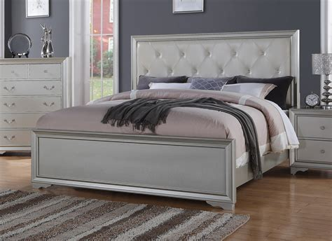 Silver Chic Contemporary California King Bed With