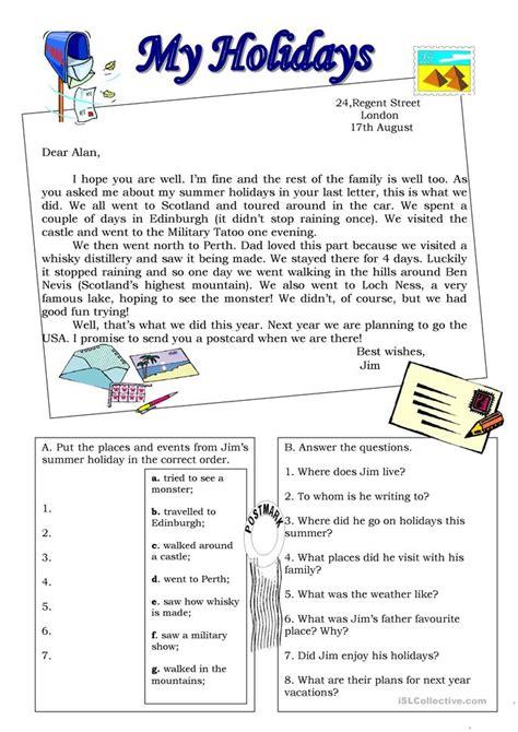 holidays postcard worksheet  esl printable