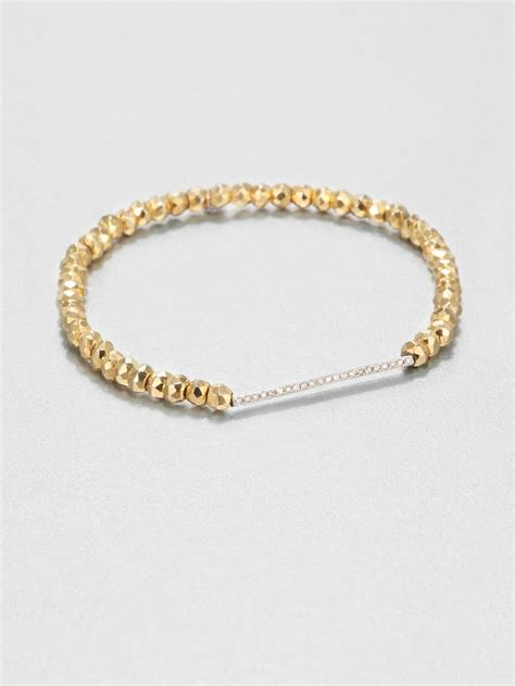 gold bracelet 14k sydney evan pyrite 14k white gold bar beaded
