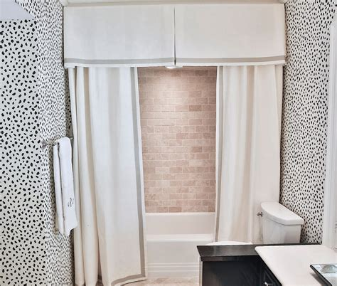 shower with pleated valance and curtains