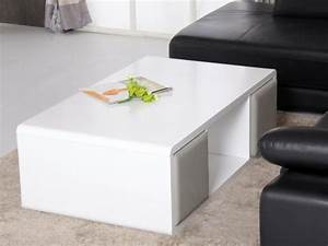 Table Basse 4 Poufs : table basse teresa 4 poufs inclus mdf laqu blanc ~ Teatrodelosmanantiales.com Idées de Décoration