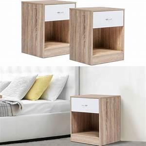 Casa Table De Chevet : lot de 2 tables de chevet bois fa on h tre tiroir blanc meubles et ~ Teatrodelosmanantiales.com Idées de Décoration