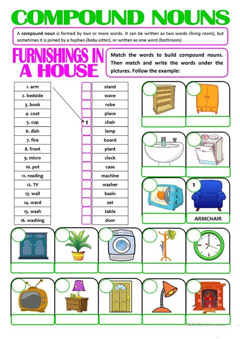 compound nouns furnishings   house english esl
