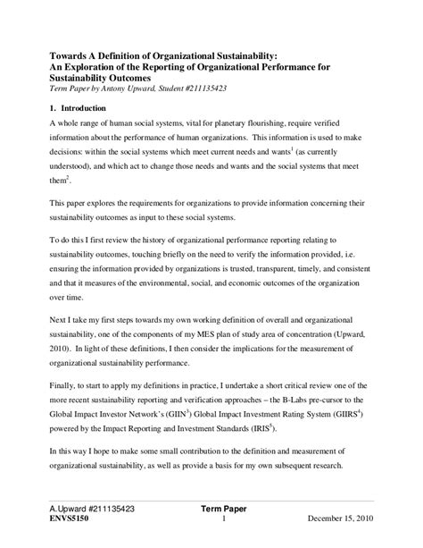 Tapezieren Beispiele by Term Paper Towards A Definition Of Organizational