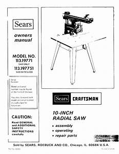 Sears Saw 113 19771 User Guide