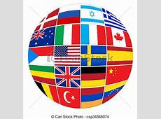 Many flags of different countries Collage shape ball of