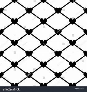 Mesh With Hearts In Black And White Seamless Pattern ...