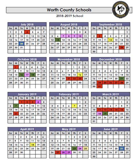 wcss calendar worth county high school