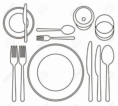 Setting Place Clipart Formal Table Dinner Illustration