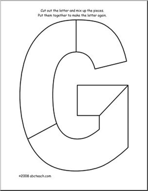 letter g clipart black and white shape puzzle the letter g abcteach