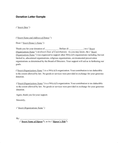 sample donation receipt letter  documents   word