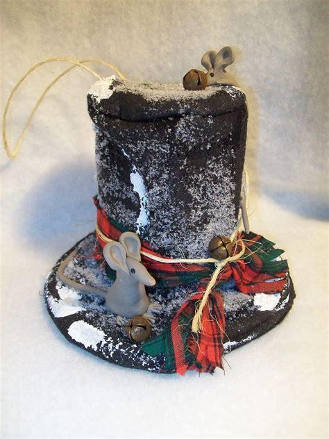primitive christmas snowman top hat  harmonytwentyone