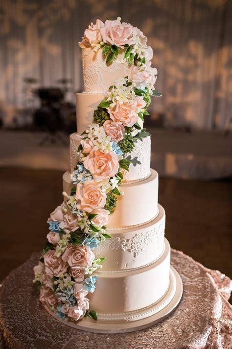 custom cake spotlight cascading sugar floral wedding cake
