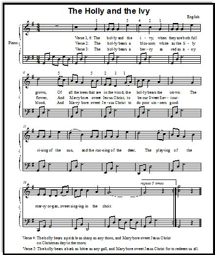 Christmas Song Lyrics And Free Piano Sheet Music For Holly