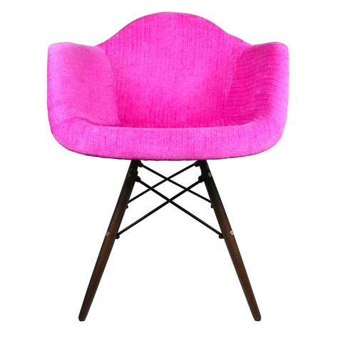 shocking pink velvet fabric eames style accent arm chair with walnut wood eiffel legs