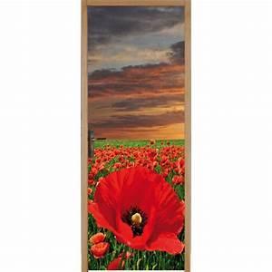 Papier Peint Sticker : papier peint porte d co champ de coquelicot art d co ~ Premium-room.com Idées de Décoration