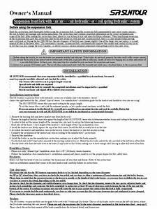 Sr Suntour Xc Pro Forks Instructions Manual