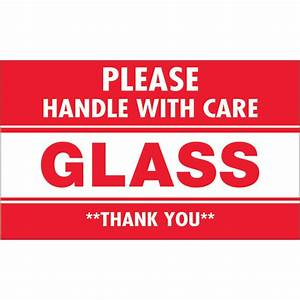 "3"" x 5"" - ""Glass - Please Handle With Care"" Labels ..."