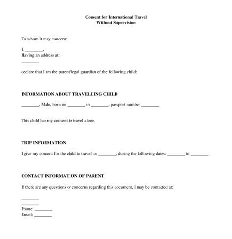 letter of consent for travel of a minor child travel consent letter sle template word and pdf