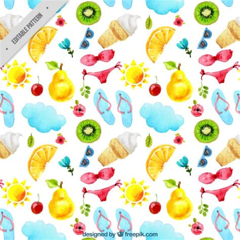Summer Pattern With Bikinis And Fruit Vector  Free Download