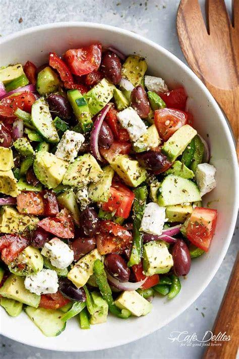 avocado greek salad greek salad dressing cafe delites