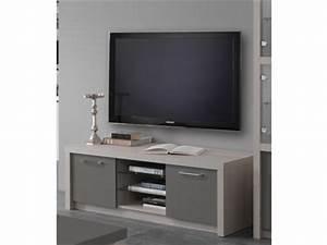 Meuble Chene Gris : meuble tv plasma fano chene blanchi laque gris chene blanchi gris brillant l 150 x h 50 x p 50 ~ Teatrodelosmanantiales.com Idées de Décoration