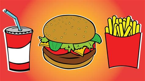 Draw Color Paint Burger, Soft Drink And French Fries
