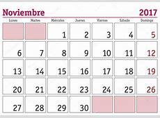 Noviembre 2017 pared calendario Español — Vector de stock © alfonsodetomas #103310652