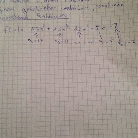 ganzrationale funktionen koeffizienten angeben mathe