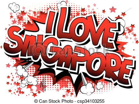 love singapore comic book style word  comic book