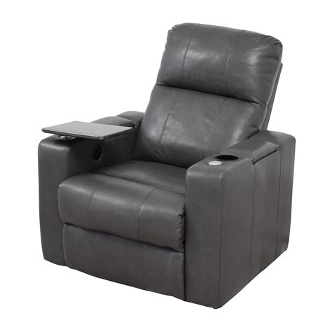 recliner with usb port 90 grey leather recliner with storage and usb port