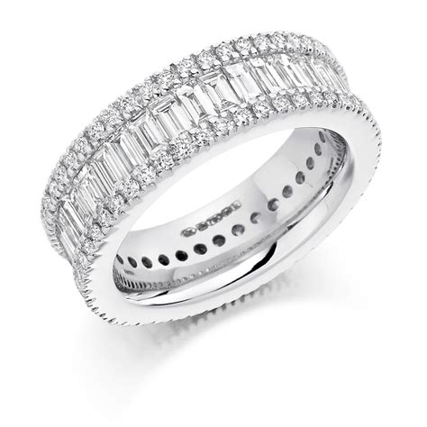 rounds baguettes triple row diamond ring fet 1298