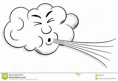 Wind Cartoon Cloud Blows Illustration Vector Winter
