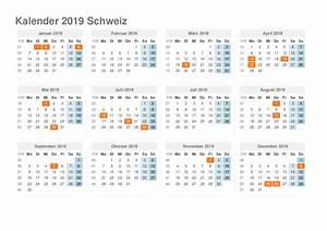 kalender 2019 Schweiz Ausdrucken, Ferien, Feiertage, Excel